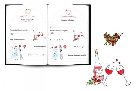 Illustration und Weinbuch   Hochzeitsgeschenk